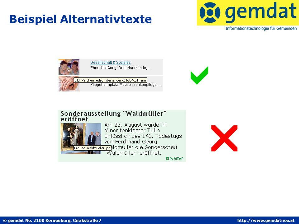 © gemdat Nö, 2100 Korneuburg, Girakstraße 7http://www.gemdatnoe.at Beispiel Alternativtexte