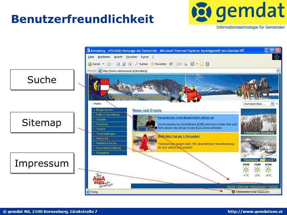 © gemdat Nö, 2100 Korneuburg, Girakstraße 7http://www.gemdatnoe.at Benutzerfreundlichkeit Suche Sitemap Impressum