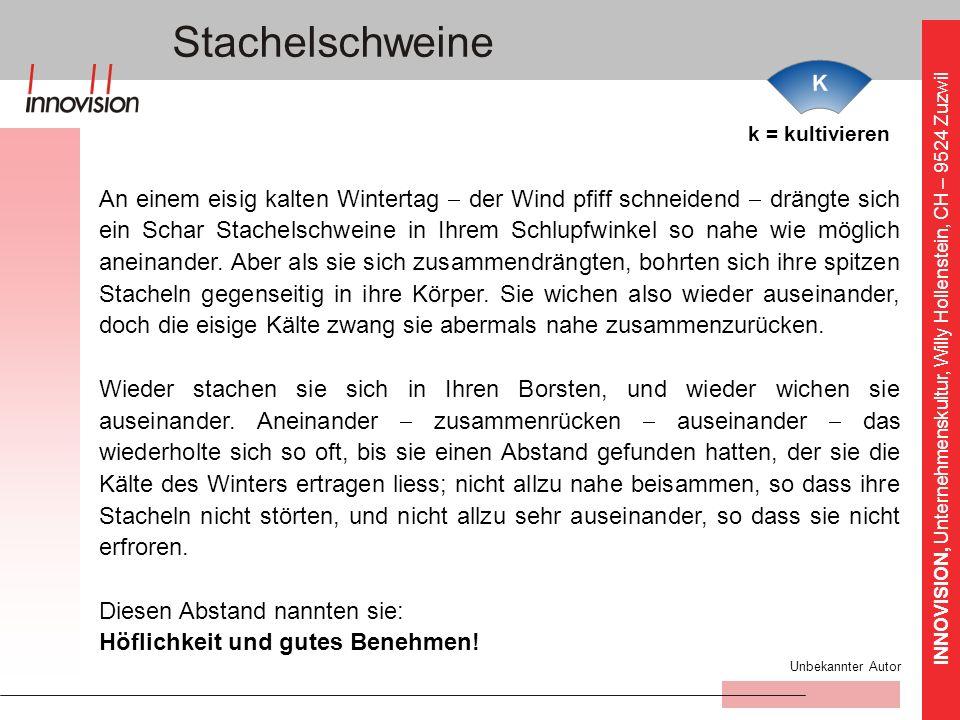 INNOVISION, Unternehmenskultur, Willy Hollenstein, CH – 9524 Zuzwil Stachelschweine k = kultivieren An einem eisig kalten Wintertag der Wind pfiff sch