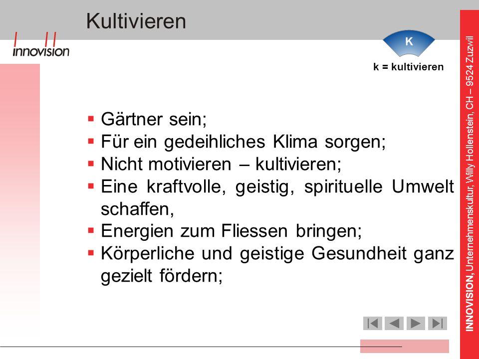 INNOVISION, Unternehmenskultur, Willy Hollenstein, CH – 9524 Zuzwil k = kultivieren Kultivieren Gärtner sein; Für ein gedeihliches Klima sorgen; Nicht