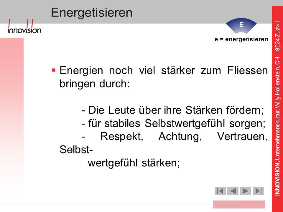 INNOVISION, Unternehmenskultur, Willy Hollenstein, CH – 9524 Zuzwil e = energetisieren Energien noch viel stärker zum Fliessen bringen durch: - Die Le