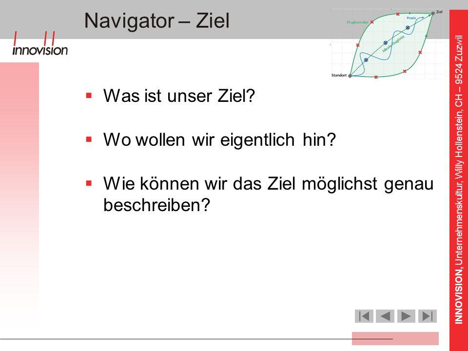 INNOVISION, Unternehmenskultur, Willy Hollenstein, CH – 9524 Zuzwil Navigator – Ziel Was ist unser Ziel? Wo wollen wir eigentlich hin? Wie können wir