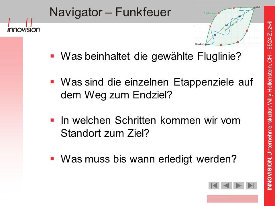 INNOVISION, Unternehmenskultur, Willy Hollenstein, CH – 9524 Zuzwil Navigator – Funkfeuer Was beinhaltet die gewählte Fluglinie? Was sind die einzelne