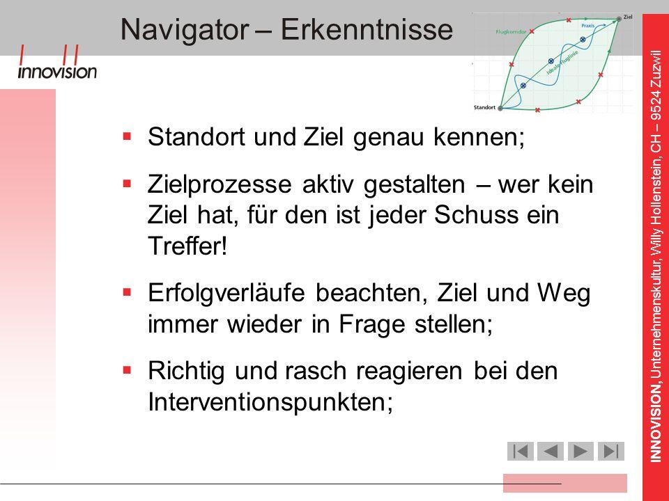 INNOVISION, Unternehmenskultur, Willy Hollenstein, CH – 9524 Zuzwil Navigator – Erkenntnisse Standort und Ziel genau kennen; Zielprozesse aktiv gestal