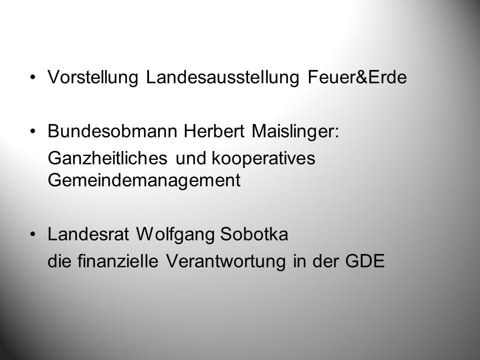 Vorstellung Landesausstellung Feuer&Erde Bundesobmann Herbert Maislinger: Ganzheitliches und kooperatives Gemeindemanagement Landesrat Wolfgang Sobotka die finanzielle Verantwortung in der GDE