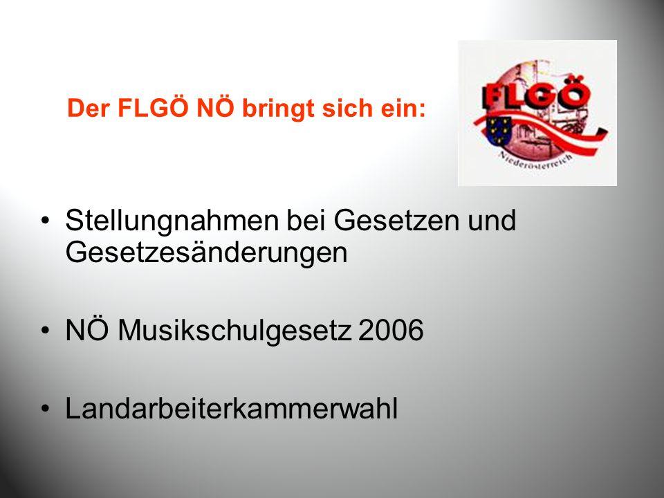 Stellungnahmen bei Gesetzen und Gesetzesänderungen NÖ Musikschulgesetz 2006 Landarbeiterkammerwahl Der FLGÖ NÖ bringt sich ein:
