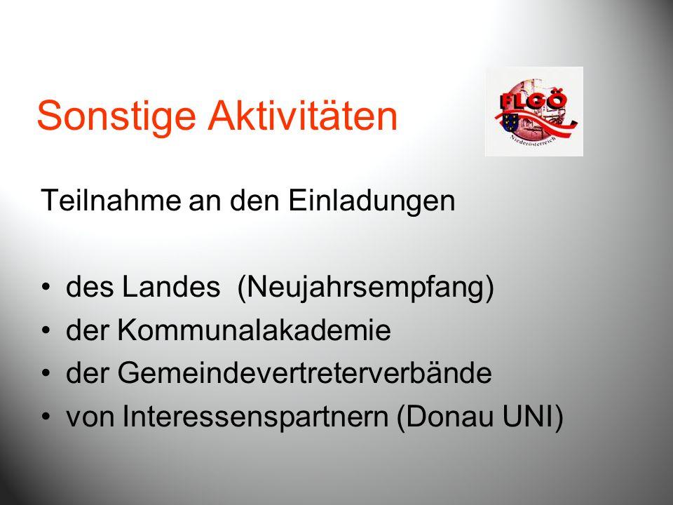 Sonstige Aktivitäten Teilnahme an den Einladungen des Landes (Neujahrsempfang) der Kommunalakademie der Gemeindevertreterverbände von Interessenspartn