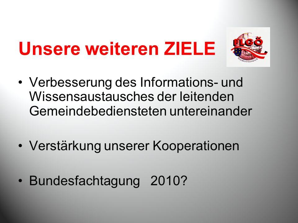 Unsere weiteren ZIELE Verbesserung des Informations- und Wissensaustausches der leitenden Gemeindebediensteten untereinander Verstärkung unserer Kooperationen Bundesfachtagung 2010
