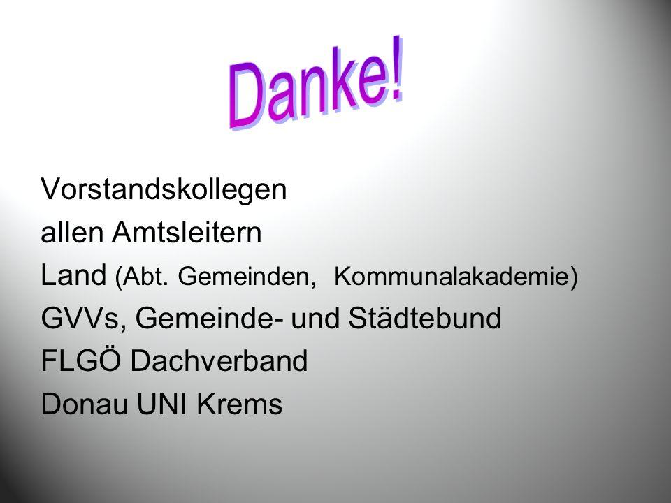 Vorstandskollegen allen Amtsleitern Land (Abt. Gemeinden, Kommunalakademie) GVVs, Gemeinde- und Städtebund FLGÖ Dachverband Donau UNI Krems