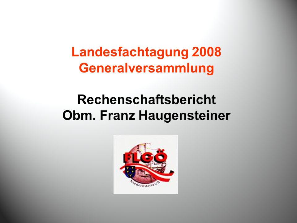 Landesfachtagung 2008 Generalversammlung Rechenschaftsbericht Obm. Franz Haugensteiner