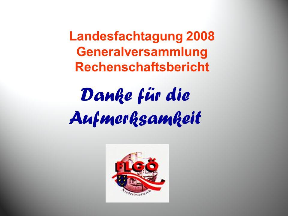 Danke für die Aufmerksamkeit Landesfachtagung 2008 Generalversammlung Rechenschaftsbericht