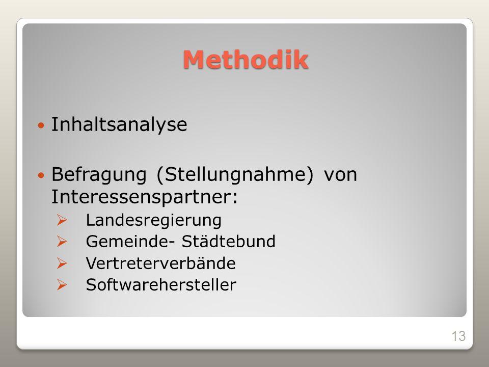 Methodik Inhaltsanalyse Befragung (Stellungnahme) von Interessenspartner: Landesregierung Gemeinde- Städtebund Vertreterverbände Softwarehersteller 13