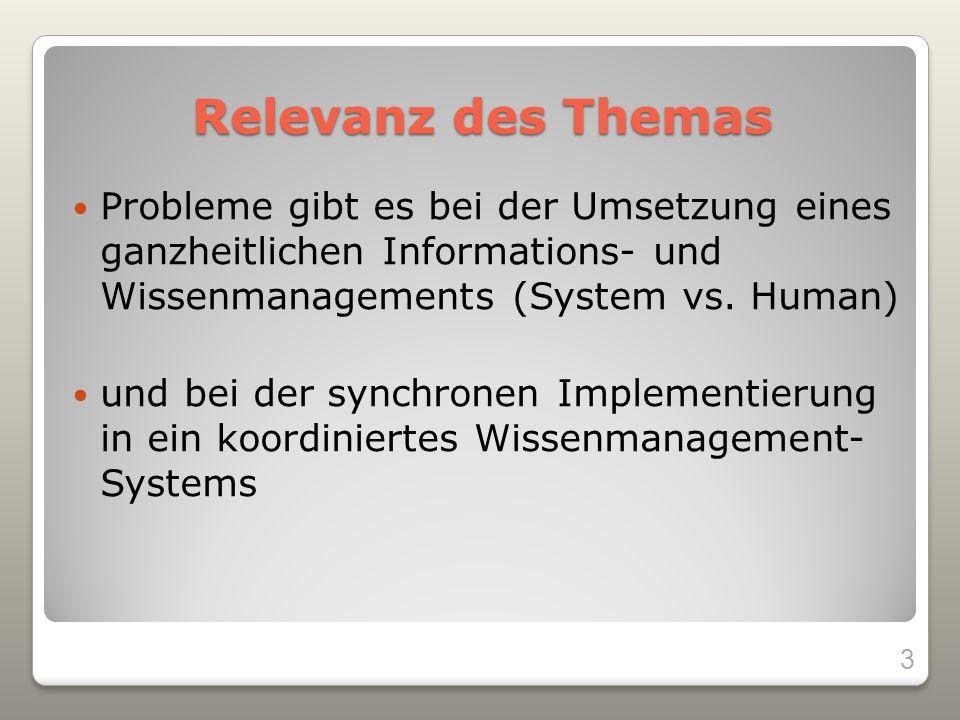 Relevanz des Themas Probleme gibt es bei der Umsetzung eines ganzheitlichen Informations- und Wissenmanagements (System vs.