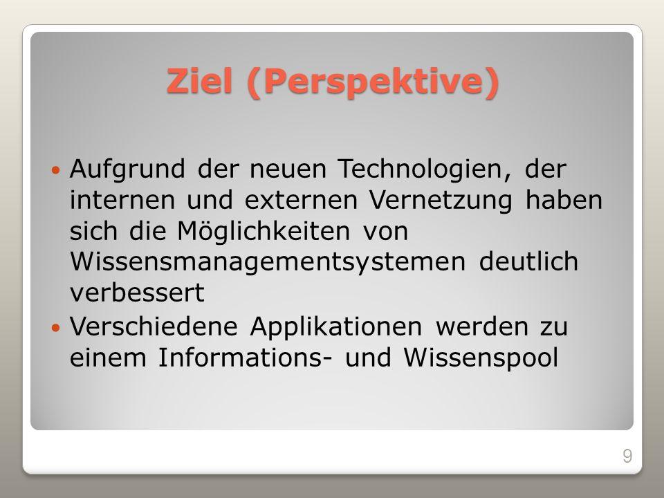 Ziel (Perspektive) Aufgrund der neuen Technologien, der internen und externen Vernetzung haben sich die Möglichkeiten von Wissensmanagementsystemen deutlich verbessert Verschiedene Applikationen werden zu einem Informations- und Wissenspool 9