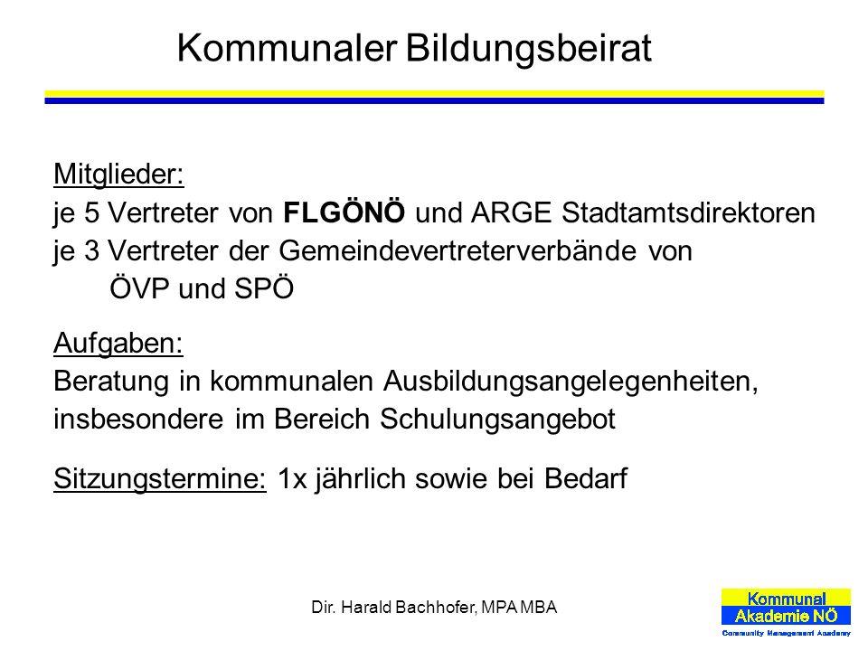 Dir. Harald Bachhofer, MPA MBA Kommunaler Bildungsbeirat Mitglieder: je 5 Vertreter von FLGÖNÖ und ARGE Stadtamtsdirektoren je 3 Vertreter der Gemeind