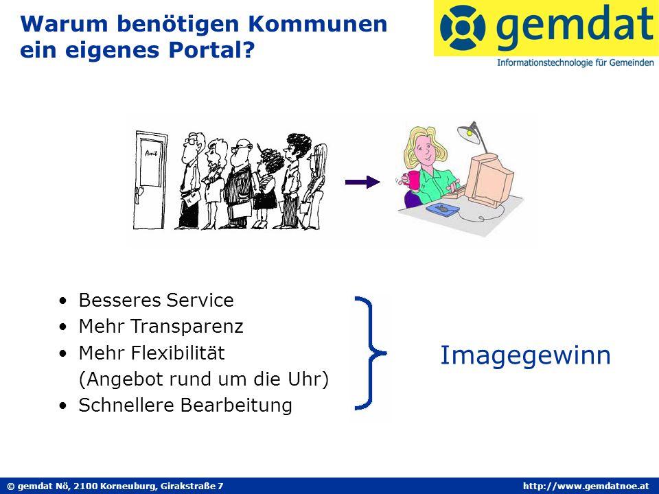 © gemdat Nö, 2100 Korneuburg, Girakstraße 7http://www.gemdatnoe.at Warum benötigen Kommunen ein eigenes Portal.