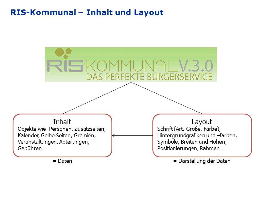 RIS-Kommunal – Inhalt und Layout Inhalt Objekte wie Personen, Zusatzseiten, Kalender, Gelbe Seiten, Gremien, Veranstaltungen, Abteilungen, Gebühren… =