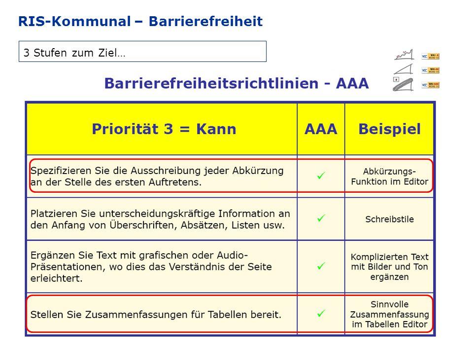 RIS-Kommunal – Barrierefreiheit 3 Stufen zum Ziel…