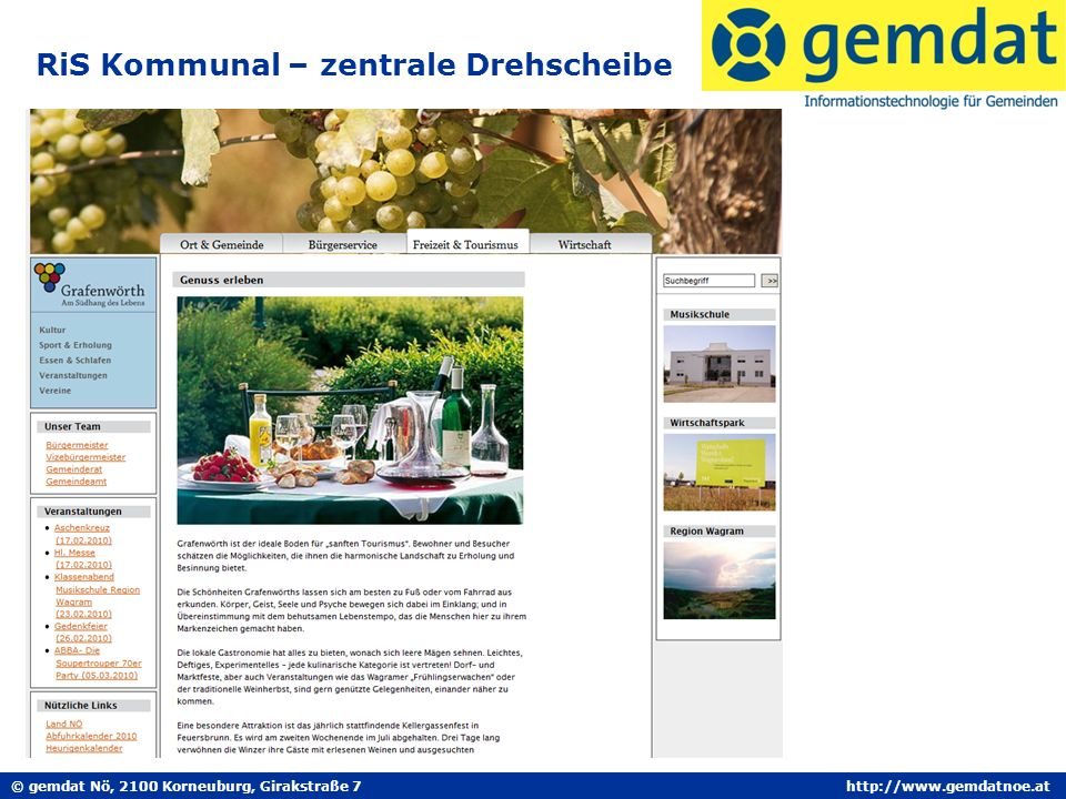 © gemdat Nö, 2100 Korneuburg, Girakstraße 7http://www.gemdatnoe.at RiS Kommunal – zentrale Drehscheibe