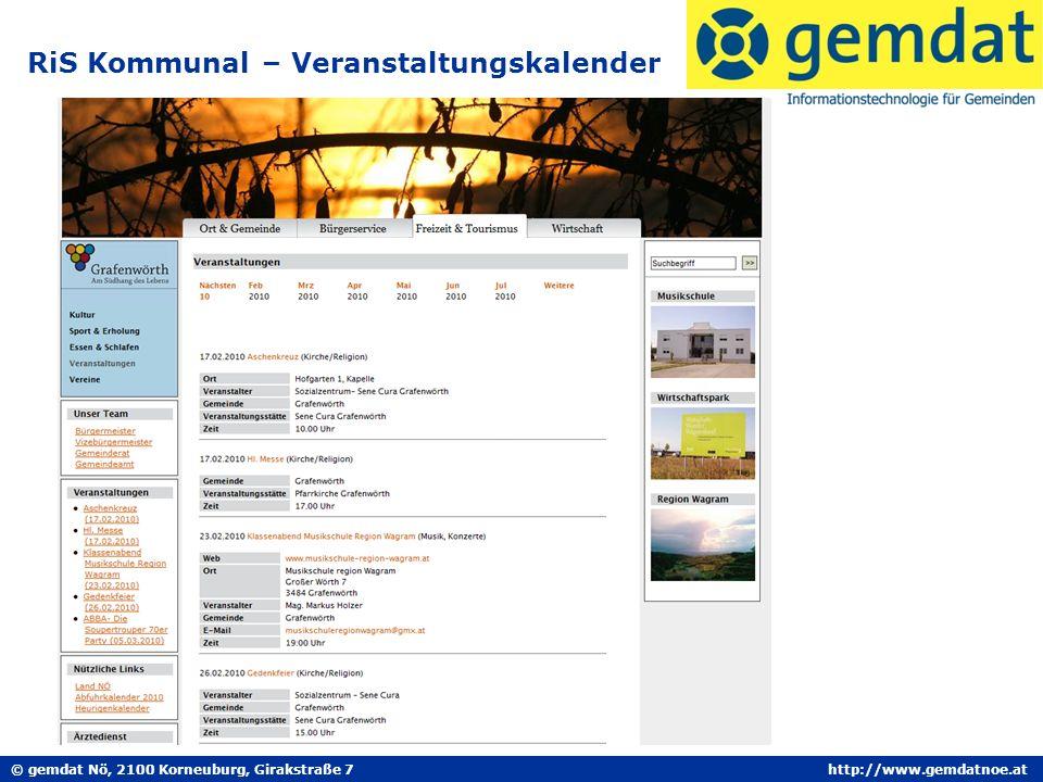 © gemdat Nö, 2100 Korneuburg, Girakstraße 7http://www.gemdatnoe.at RiS Kommunal – Veranstaltungskalender