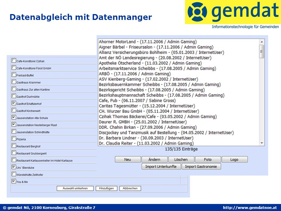 © gemdat Nö, 2100 Korneuburg, Girakstraße 7http://www.gemdatnoe.at Datenabgleich mit Datenmanger