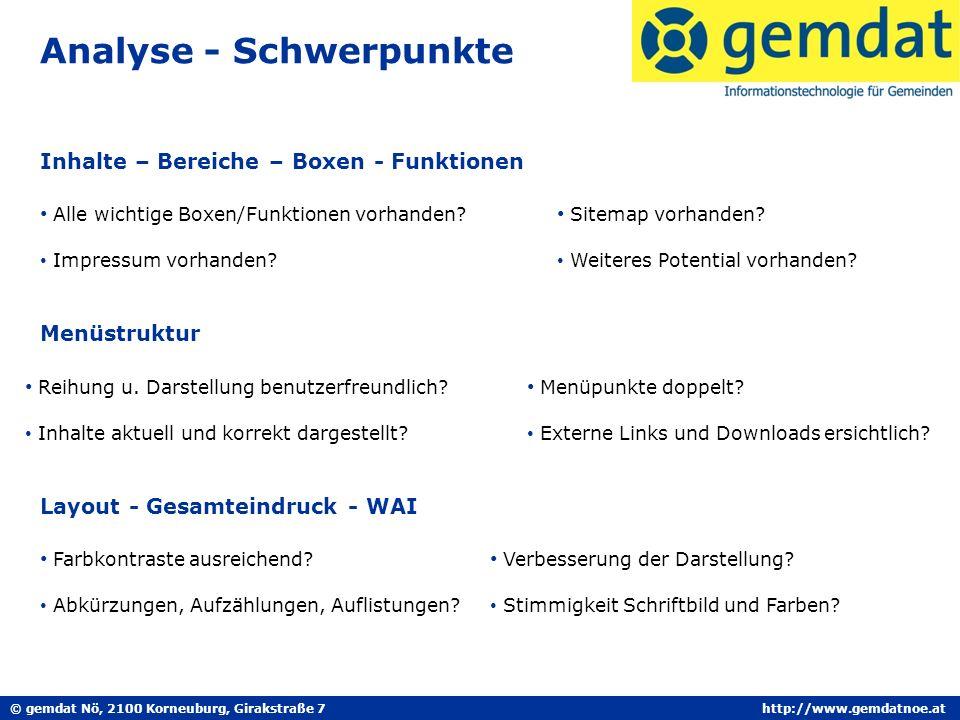 © gemdat Nö, 2100 Korneuburg, Girakstraße 7http://www.gemdatnoe.at Analyse - Schwerpunkte Inhalte – Bereiche – Boxen - Funktionen Alle wichtige Boxen/