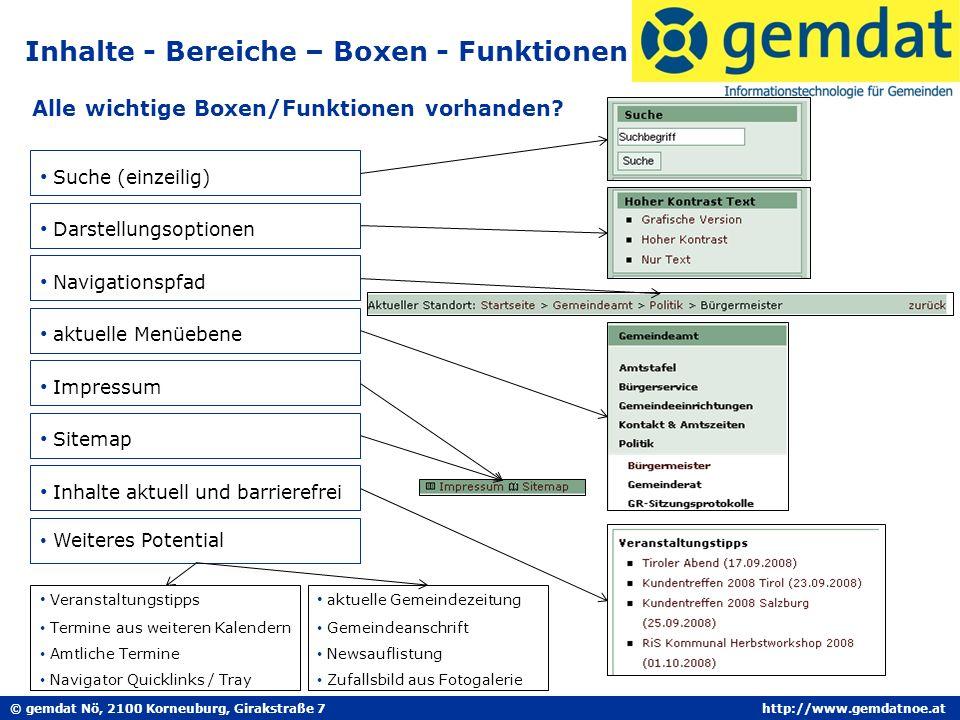 © gemdat Nö, 2100 Korneuburg, Girakstraße 7http://www.gemdatnoe.at Inhalte - Bereiche – Boxen - Funktionen Alle wichtige Boxen/Funktionen vorhanden? N