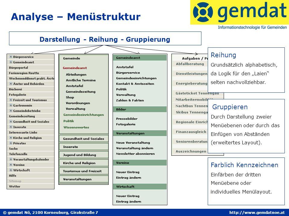 © gemdat Nö, 2100 Korneuburg, Girakstraße 7http://www.gemdatnoe.at Analyse – Menüstruktur Darstellung - Reihung - Gruppierung Reihung Grundsätzlich alphabetisch, da Logik für den Laien selten nachvollziehbar.