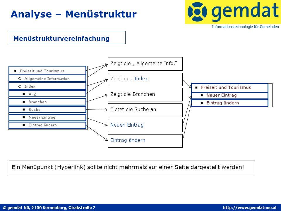 © gemdat Nö, 2100 Korneuburg, Girakstraße 7http://www.gemdatnoe.at Analyse – Menüstruktur Menüstrukturvereinfachung Zeigt die Allgemeine Info. Zeigt d