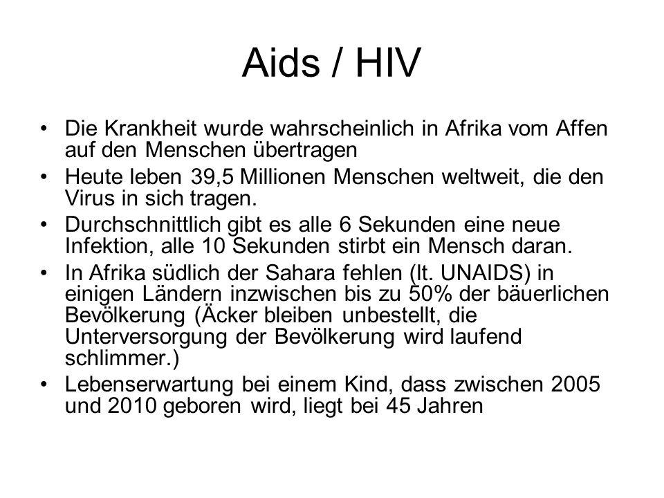 Aids / HIV Die Krankheit wurde wahrscheinlich in Afrika vom Affen auf den Menschen übertragen Heute leben 39,5 Millionen Menschen weltweit, die den Vi