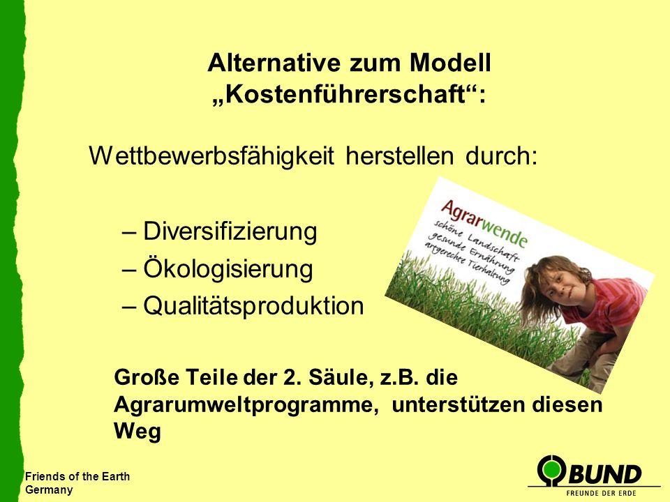Friends of the Earth Germany Alternative zum Modell Kostenführerschaft: Wettbewerbsfähigkeit herstellen durch: –Diversifizierung –Ökologisierung –Qual