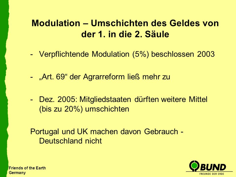 Friends of the Earth Germany Modulation – Umschichten des Geldes von der 1.