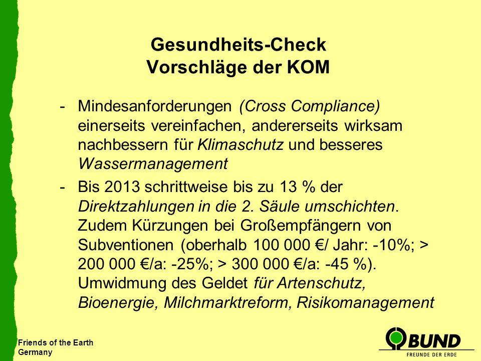 Friends of the Earth Germany Gesundheits-Check Vorschläge der KOM -Mindesanforderungen (Cross Compliance) einerseits vereinfachen, andererseits wirksa