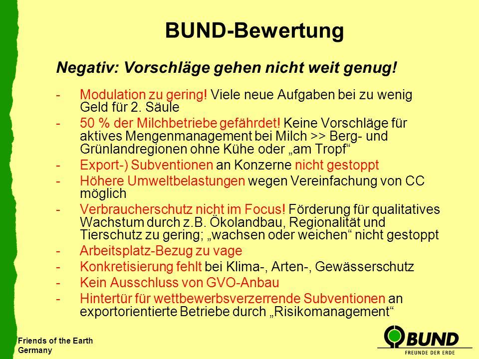 Friends of the Earth Germany BUND-Bewertung Negativ: Vorschläge gehen nicht weit genug! -Modulation zu gering! Viele neue Aufgaben bei zu wenig Geld f