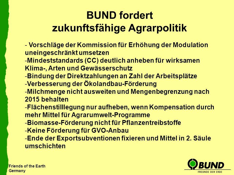 Friends of the Earth Germany BUND fordert zukunftsfähige Agrarpolitik - Vorschläge der Kommission für Erhöhung der Modulation uneingeschränkt umsetzen