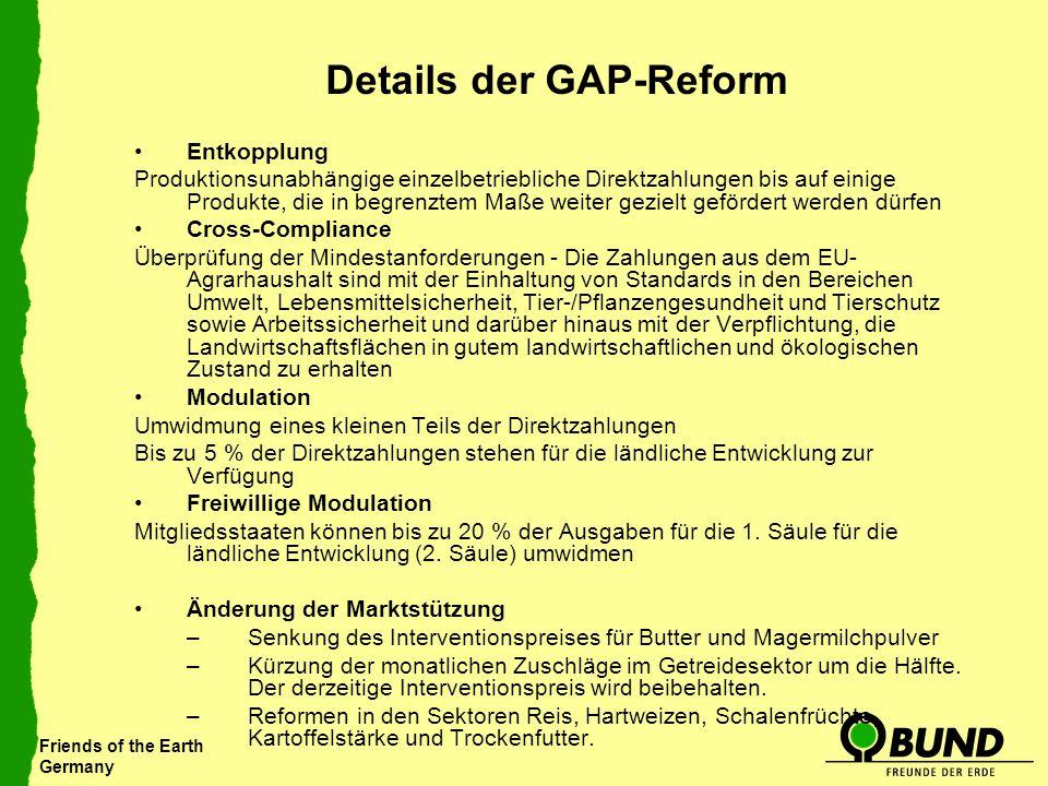 Friends of the Earth Germany Details der GAP-Reform Entkopplung Produktionsunabhängige einzelbetriebliche Direktzahlungen bis auf einige Produkte, die