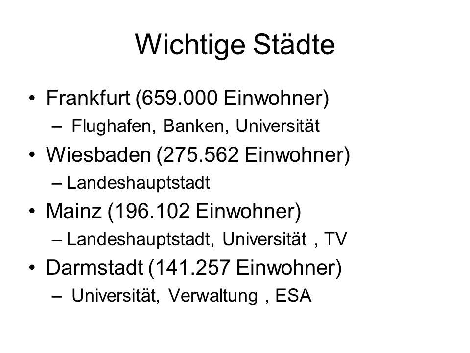 Wichtige Städte Frankfurt (659.000 Einwohner) – Flughafen, Banken, Universität Wiesbaden (275.562 Einwohner) –Landeshauptstadt Mainz (196.102 Einwohner) –Landeshauptstadt, Universität, TV Darmstadt (141.257 Einwohner) – Universität, Verwaltung, ESA