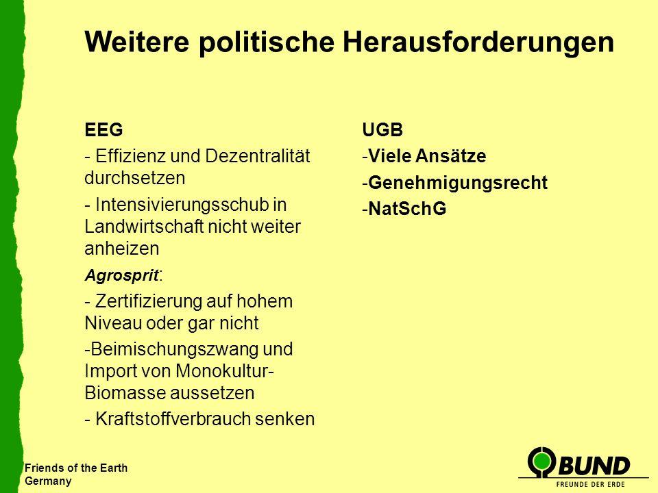 Friends of the Earth Germany Weitere politische Herausforderungen EEG - Effizienz und Dezentralität durchsetzen - Intensivierungsschub in Landwirtscha