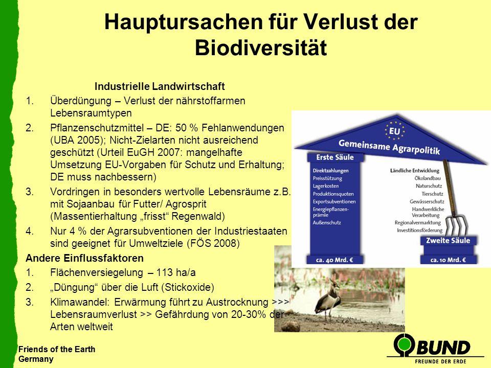 Friends of the Earth Germany Friends of the Earth Germany Hauptursachen für Verlust der Biodiversität Industrielle Landwirtschaft 1.Überdüngung – Verl