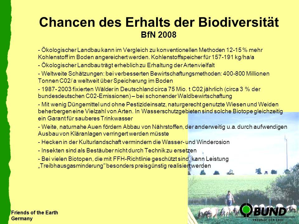 Friends of the Earth Germany Friends of the Earth Germany Chancen des Erhalts der Biodiversität BfN 2008 - Ökologischer Landbau kann im Vergleich zu k