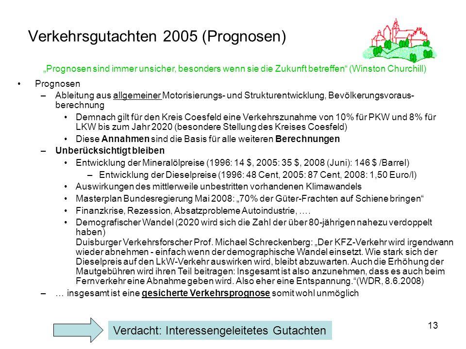 13 Verkehrsgutachten 2005 (Prognosen) Prognosen –Ableitung aus allgemeiner Motorisierungs- und Strukturentwicklung, Bevölkerungsvoraus- berechnung Dem