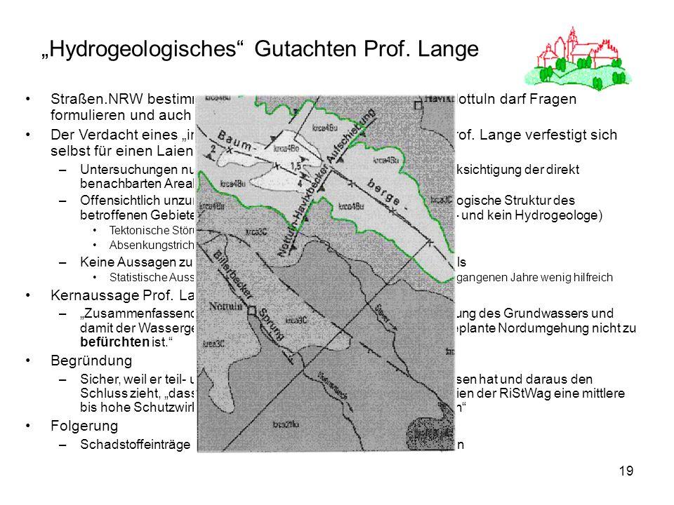 19 Hydrogeologisches Gutachten Prof. Lange Straßen.NRW bestimmt den Gutachter und Gemeinde Nottuln darf Fragen formulieren und auch hälftig zahlen Der