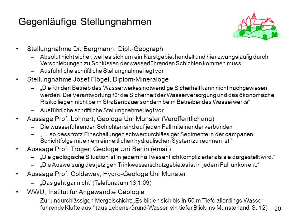 20 Gegenläufige Stellungnahmen Stellungnahme Dr. Bergmann, Dipl.-Geograph –Absolut nicht sicher, weil es sich um ein Karstgebiet handelt und hier zwan