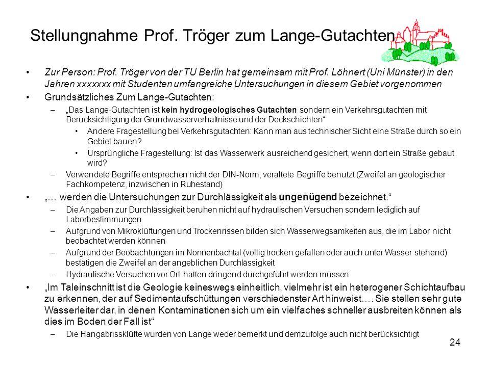 24 Stellungnahme Prof. Tröger zum Lange-Gutachten Zur Person: Prof. Tröger von der TU Berlin hat gemeinsam mit Prof. Löhnert (Uni Münster) in den Jahr