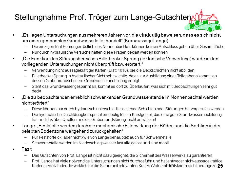 25 Stellungnahme Prof. Tröger zum Lange-Gutachten Es liegen Untersuchungen aus mehreren Jahren vor, die eindeutig beweisen, dass es sich nicht um eine