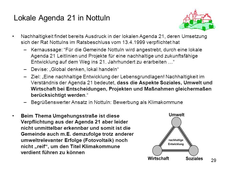 29 Lokale Agenda 21 in Nottuln Nachhaltigkeit findet bereits Ausdruck in der lokalen Agenda 21, deren Umsetzung sich der Rat Nottulns im Ratsbeschluss vom 13.4.1999 verpflichtet hat –Kernaussage: Für die Gemeinde Nottuln wird angestrebt, durch eine lokale Agenda 21 Leitlinien und Projekte für eine nachhaltige und zukunftsfähige Entwicklung auf dem Weg ins 21.