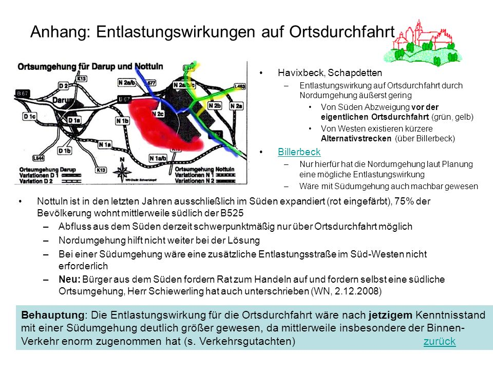 37 Anhang: Entlastungswirkungen auf Ortsdurchfahrt Havixbeck, Schapdetten –Entlastungswirkung auf Ortsdurchfahrt durch Nordumgehung äußerst gering Von
