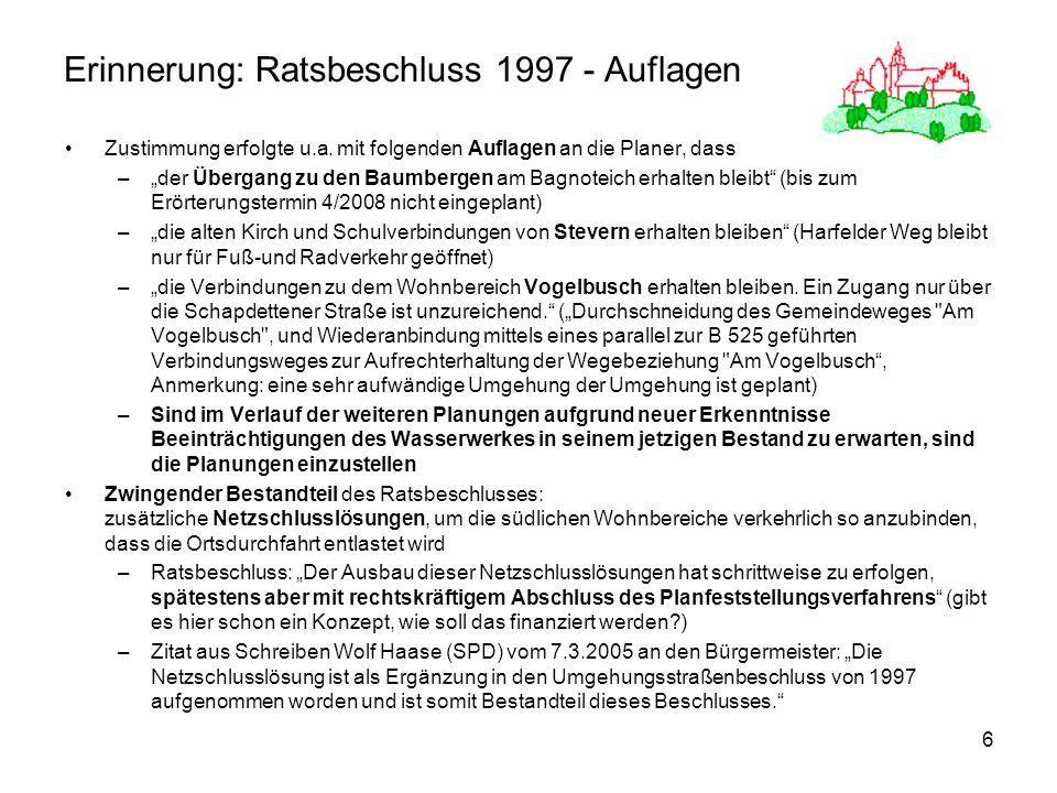 6 Erinnerung: Ratsbeschluss 1997 - Auflagen Zustimmung erfolgte u.a. mit folgenden Auflagen an die Planer, dass –der Übergang zu den Baumbergen am Bag