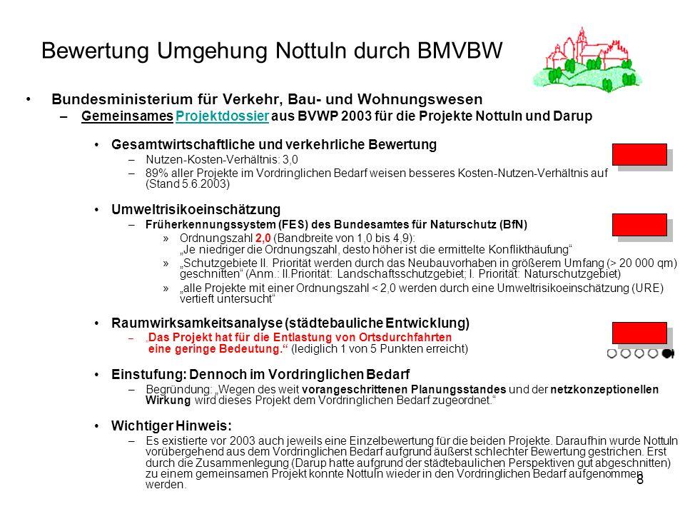 8 Bewertung Umgehung Nottuln durch BMVBW Bundesministerium für Verkehr, Bau- und Wohnungswesen –Gemeinsames Projektdossier aus BVWP 2003 für die Proje