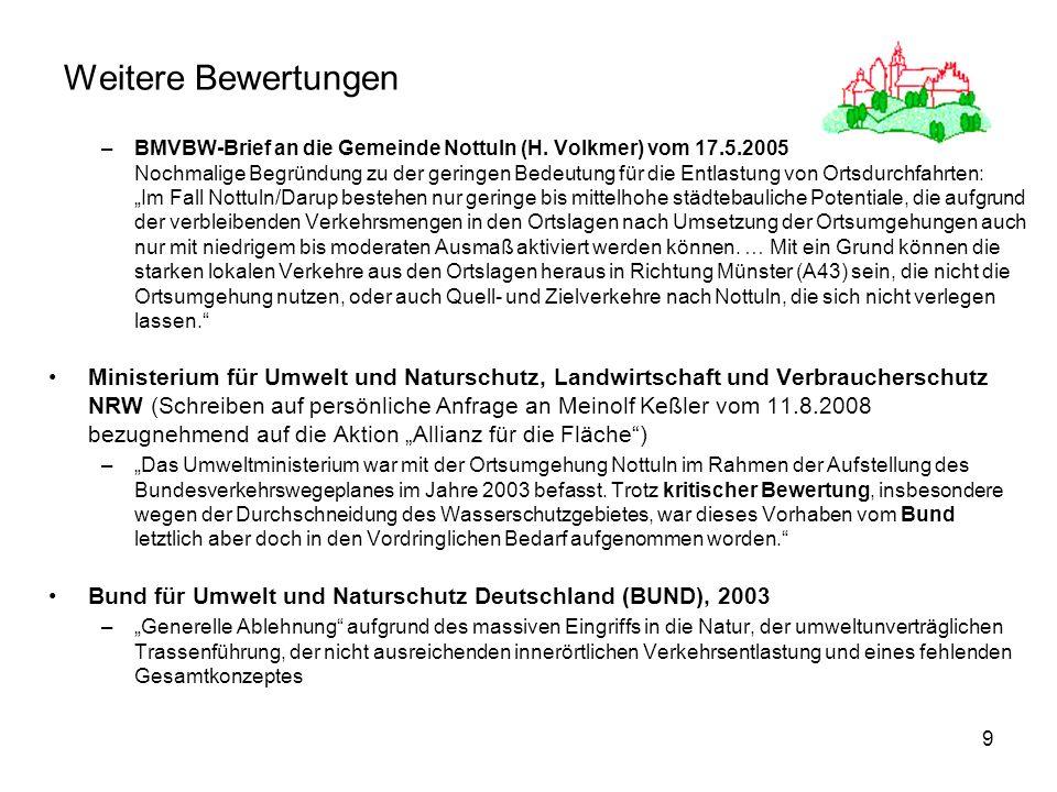 9 Weitere Bewertungen –BMVBW-Brief an die Gemeinde Nottuln (H. Volkmer) vom 17.5.2005 Nochmalige Begründung zu der geringen Bedeutung für die Entlastu